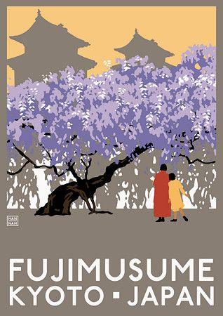 Fujimusame Kyoto Japan Japanese Travel Vintage Posters Art Prints