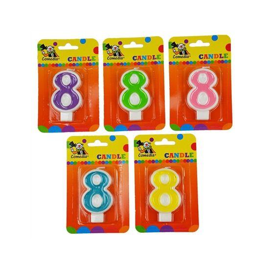 Cijferkaars 8 jaar. Kaars in de vorm van het getal 8 voor een verjaardagstaart. Formaat ongeveer 8 cm hoog en 4,5 cm breed.