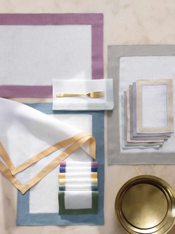 Filetto solid contrast-color-border linens by SFERRA.