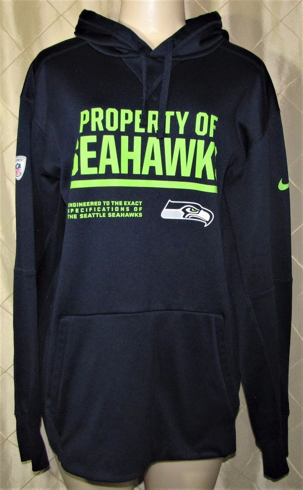 NIKE NFL EQUIPMENT SEATTLE SEAHAWKS THERMA FIT HOODIE SWEATSHIRT ADULT XL VGC #Nike #SeattleSeahawks