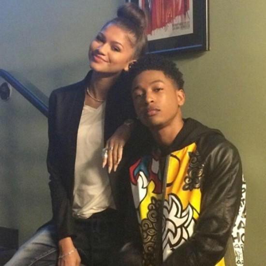 Zendaya with Jacob Latimore at Radio Disney's Family VIP Birthday in LA 11/22/14