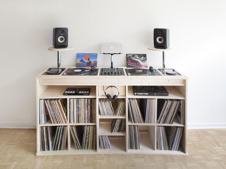 port e le meuble pour vinyles de estis dj booth dj and vinyl storage. Black Bedroom Furniture Sets. Home Design Ideas