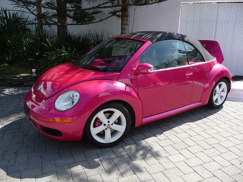 Pink VW Beetle Convertible ☆ Girly Cars for Female Drivers! Love Pink Cars ♥ It's the dream car for every girl ALL THINGS PINK #vw #pink