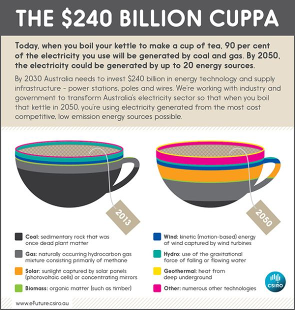 Next time you boil the kettle, have a think about this: over 90 per cent of the electricity used today is being generated by coal and gas. By 2050, when you do the same thing – make a cuppa – the electricity you use could be generated by over 20 energy sources and technologies. That's a big change.