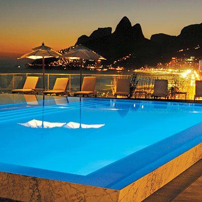 Fasano Rio de Janeiro, Brazil. Same hotel, same pool. Amazing view. #hotelinteriordesigns