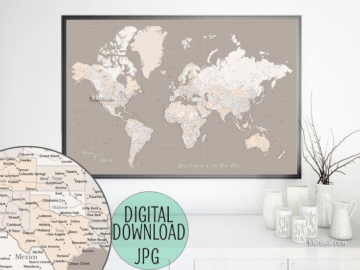 Custom quote - highly detailed world map printable with cities, capitals, countries, US States... labeled. Light earth tones. #CustomPrintable #CustomDesignedPrintable #BlackAndWhite #CustomMapPoster #CustomArtwork #CustomArtPrint #CustomMap #custom #ArtPrint #CustomMapPrint