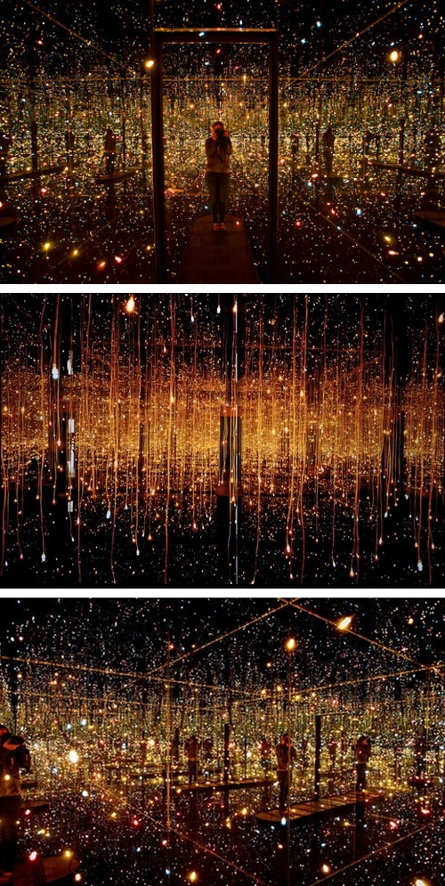 Fireflies on the Water (2002) by Yayoi Kusama. Installation made of 150 lights, mirrors, and water.