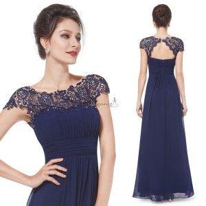 Dlouhé tmavě modré společenské šaty s krajkou