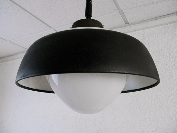 steel ring lamp with black and white balloon