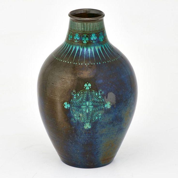 CHRIS VAN DER HOEF; AMSTELHOEK Glazed ceramic vase with Art Nouveau decoration, Amsterdam, ca. 1900