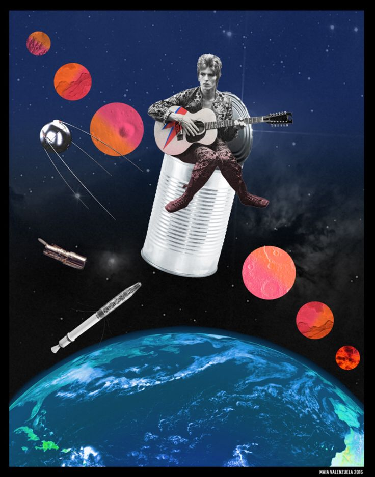 FOR HERE AM I SITTING IN A TIN CAN FAR ABOVE THE WORLD. SPACE ODDITY - Album: David Bowie, 1969