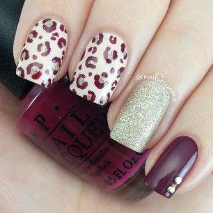 burgundy • glitter • leopard