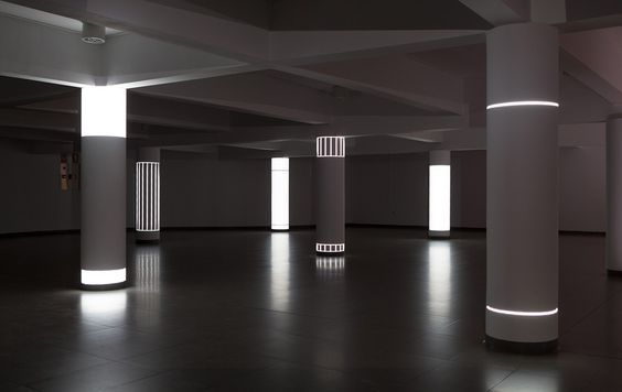 Pablo Valbuena | Para -site (6 columns) | Site-specific installation. Video projection on architecture. Laboral centro de Arte. Gijon, ES. 2014  para- : at or to one side of, beside, next to, beyond (from gr. para) -site : position, situation, location, state (from lat. situs)