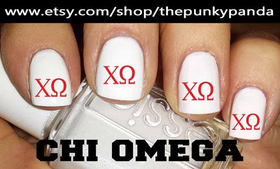 Buy 2 Get 1 Free  Chi Omega Sorority Nail Decals by ThePunkyPanda, $5.99