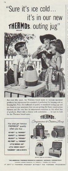 "Description: 1958 THERMOS vintage print advertisement ""outing jug""""Sure it's ice cold ... it's in our new Thermos outing jug. For over fifty years, the Thermos brand name in vacuum insulated products has represented the standard of perfection for keeping cold or keeping hot. The American Thermos Products Company, Norwich, Connecticut."" Size: The dimensions of the half-page advertisement are approximately 5.5 inches x 14 inches (14cm x 36cm). Condition: This original vintage advertisement is…"