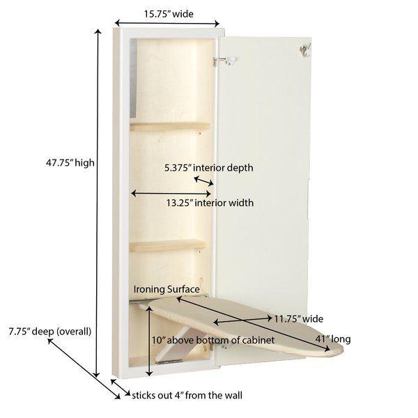 Household Essentials Stowaway In Wall Built In Ironing Board Wayfair Wall Ironing Board Ironing Board Ironing Board Cabinet