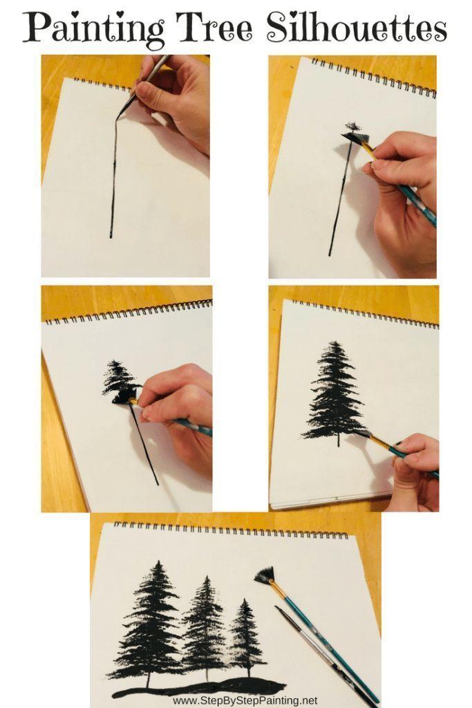 Baume Mit Einem Facherpinsel Malen Schritt Fur Schritt Malen