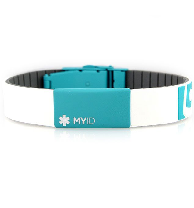 MyID Sleek Gray and Teal Medical ID Bracelet (From $40.95) | Lauren's Hope | This waterproof, adjustable personal ID bracelet has two points of access on the back (scannable QR code with PIN and 24-hour call center number) so that first responders can more quickly and effectively treat you in an emergency. Your online health profile is secure, accessible, and easy to update both online and via MyID™'s free app.