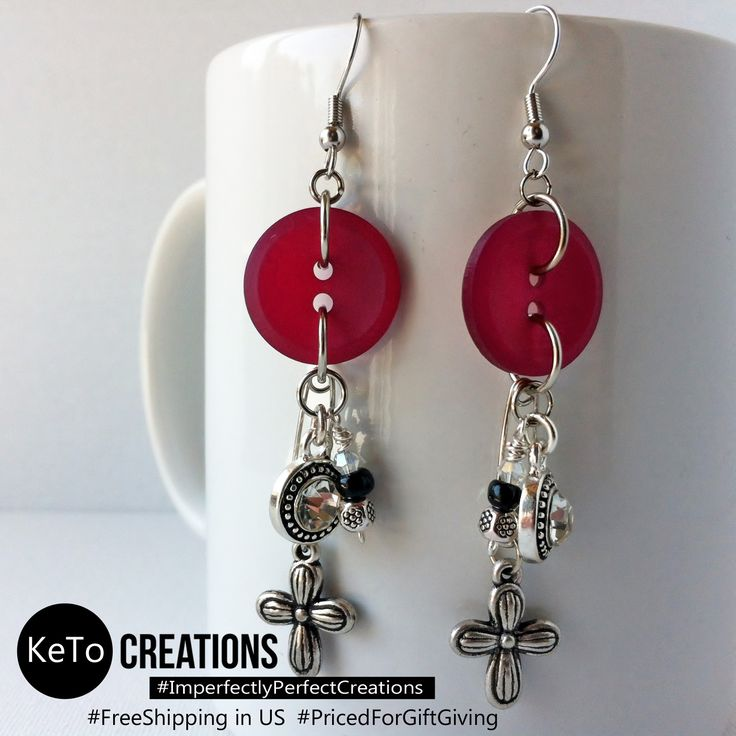 """""""Grandma's Sewing Basket"""" by KeTo Creations #HandCrafted #Earrings #SewingBasket #Buttons #Charms #ImperfectlyPerfectCreations #FreeShipping in the US #PricedForGiftGiving #JustOpenedOurStore #ShopLikeWeHave5StarRating #WeShipASAP #PinNowViewLater"""
