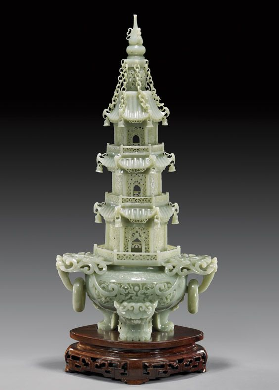 23-inch tall Chinese Celadon Jade Pagoda Censer, combines strength and delicacy. Free hanging bells punctuate the rooflines of the tiers