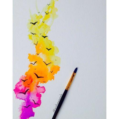 Now Featuring: @aishaaaaah #watercolour #painting #goodnight...