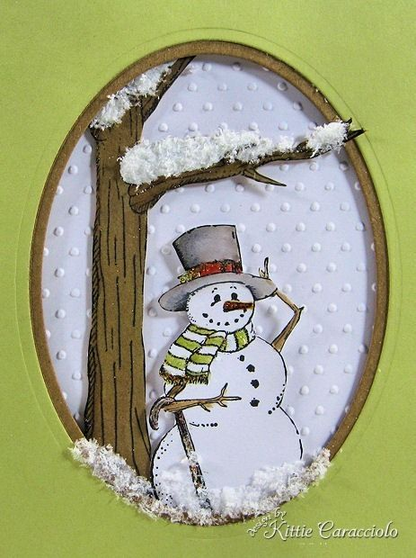Snowman card from KittieKraft - She does some amazing dimensional work.  Check her blog out.