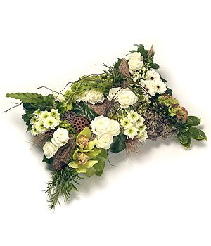 Freya - Green and White Woodland Pillow. Rose - White: Charm, Innocence Daisy: Loyal Love, Gentleness, Innocence Rosemary: Remembrance Bay: Glory