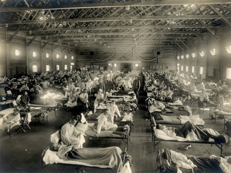 Emergency hospital during influenza epidemic, Camp Funston, Kansas, 1918. The 1918 flu pandemic (January 1918 – December 1920) was an unusually deadly influenza pandemic, the first of the two pandemics involving H1N1 influenza virus. It infected 500 million people across the world, including remote Pacific islands and the Arctic, and resulted in the deaths of 50 to 100 million (three to five percent of the world's population), making it one of the deadliest natural disasters in human…