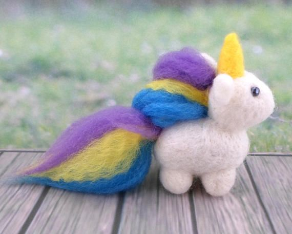 *To apply a Published Discount, check out the Coupon Code on https://www.etsy.com/shop/gattinigifts (Announcement Section)  ♥ This needle felted Pet is a Magic Unicorn who loves Rainbows This friend measures approximately 3 in x 1.3 in x 3.9 in  This Unicorn is handmade You will take home exactly the Unicorn of the photo :D  Its made out of soft & high quality Wool (100% Pure Wool), with beads in his eyes Gattini gifts Needle Felted Pets can be great gifts!!! This Unic...
