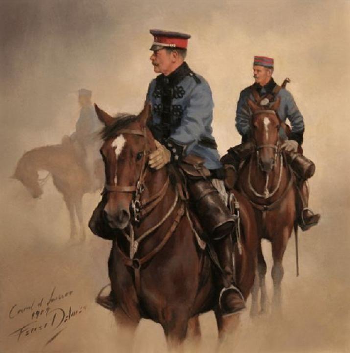 Mi Coronel, obra de Augusto Ferrer-Dalmau. Pequeño cuadro de 29x29 cm. Coronel de Lanceros con asistente 1909