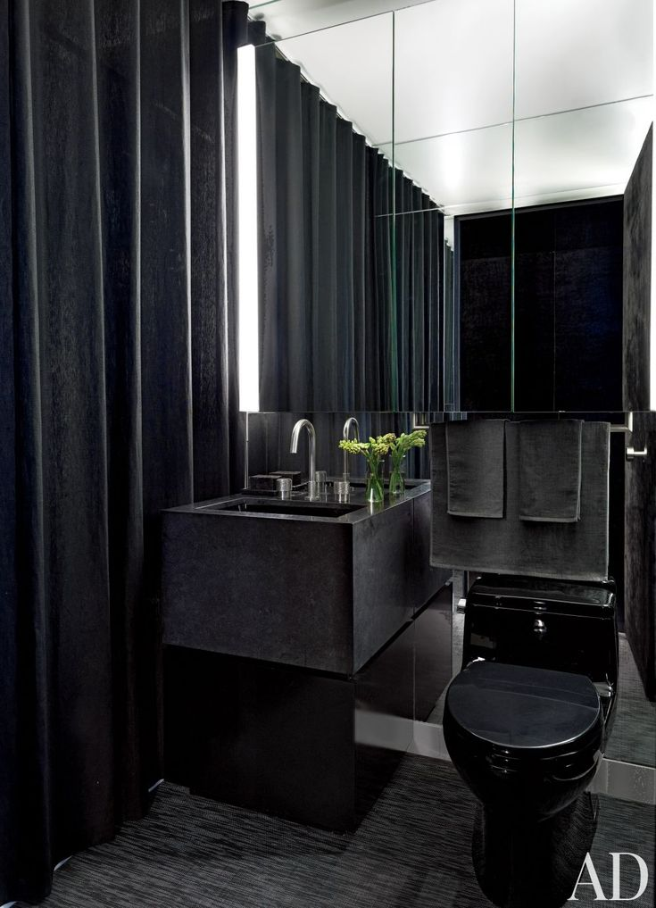 Black Is So Sexy In An All Black Bath The Vanity Is Granite