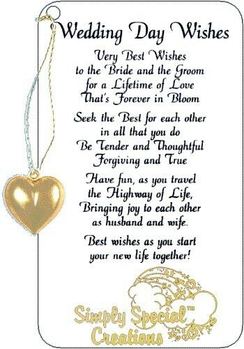 Wedding day wishes sayings poems etc pinterest for Best day for a wedding