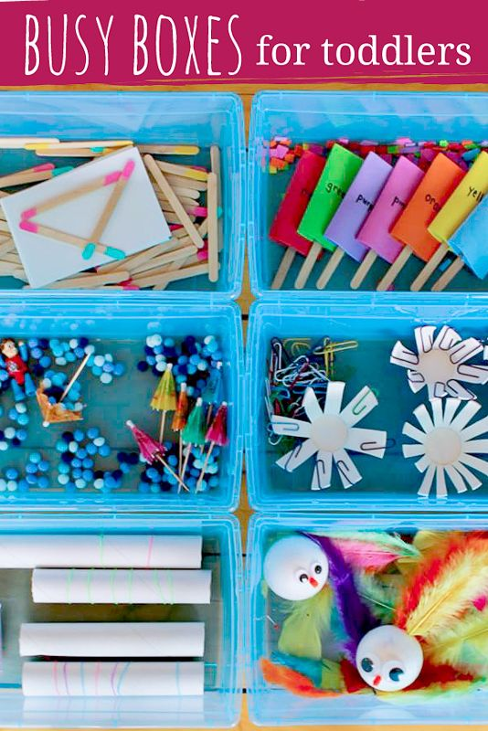Perfect Busy Boxes for Toddlers! Great quiet time ideas. Make them ahead and keep the kids entertained day after day.