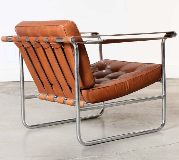 Karl Thut; Chromed Metal and Leather Lounge Chair for Stendig, 1970s.