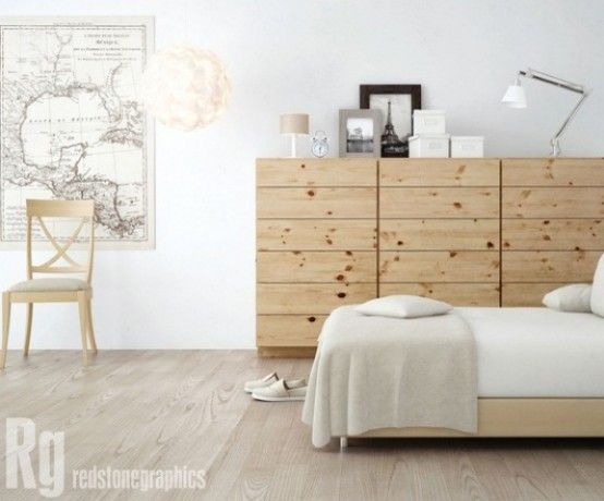 tall drawer dressers would accomodate having the tv higher up on wall if bed is also higher rather than lower  50 Cozy And Comfy Scandinavian Bedroom Designs