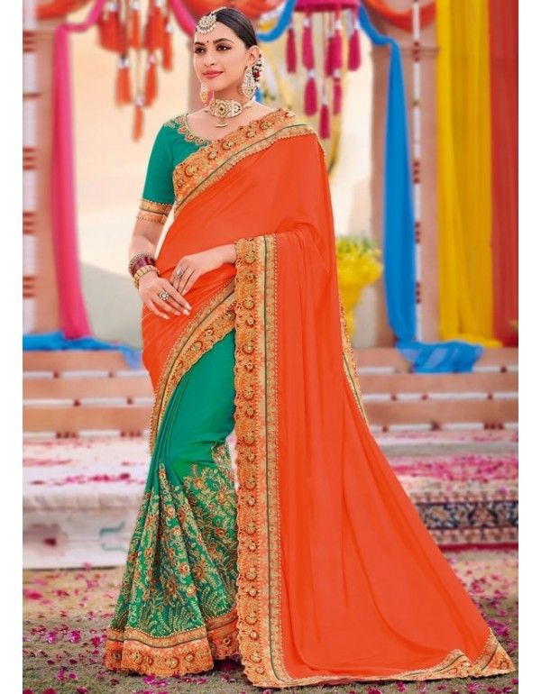 073f1f171 Rama Green and Tangerine Designer Embroidered Saree in 2019