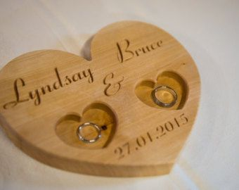 Personalized Wood Wedding Ring Bearer Pillow Rustic Wedding