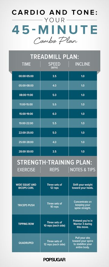 This efficient 45-minute sweat session starts with a push of cardio and finishes with strength training, focused on ab and arm work.