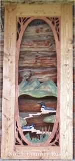 Hand Carved Hand Painted Screen Door Featuring Quot Loon Lake