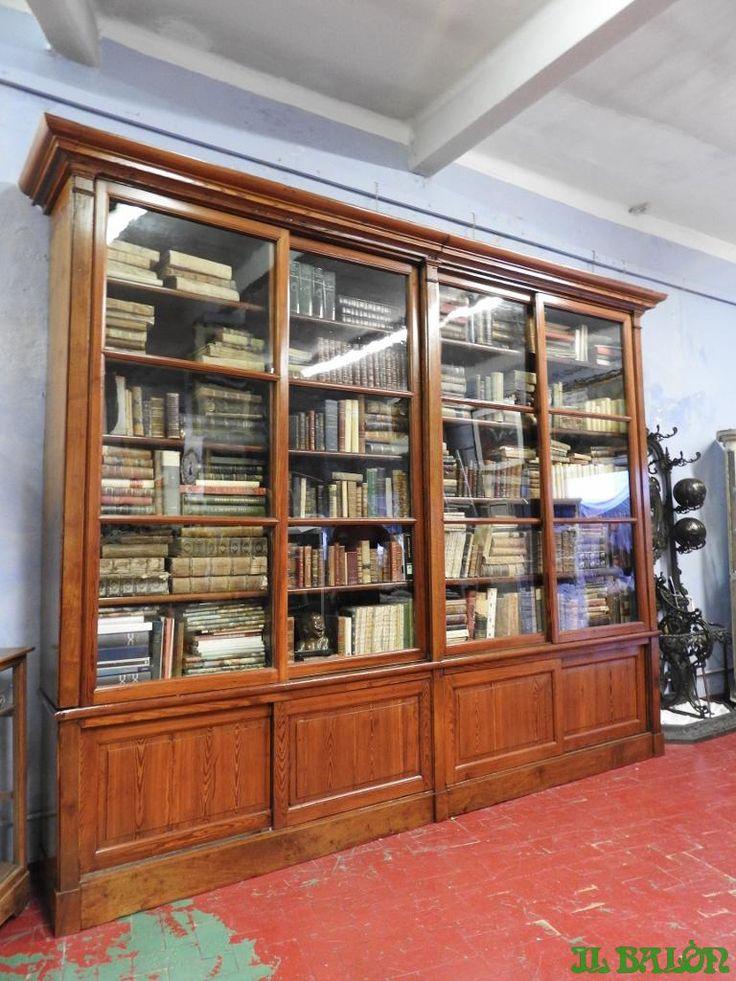 Antica grande libreria d'epoca vetri soffiati epoca