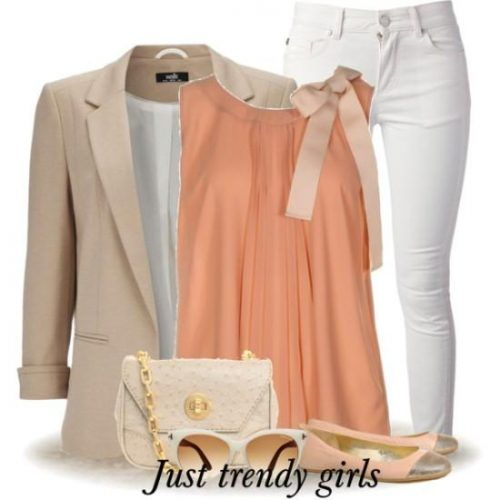 neutral beige work wear outfit- peach blouse with bow- Spring work outfits for women http://www.justtrendygirls.com/spring-work-outfits-for-women/