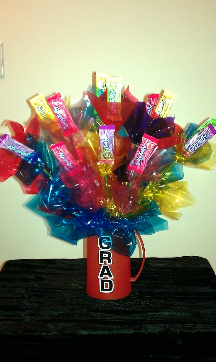 Laffy taffy graduation candy bouquet centerpiece ideas