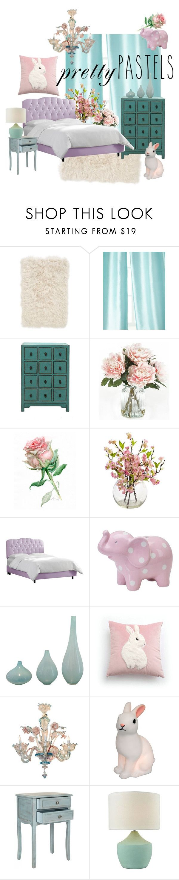 """""""Pastel Home Decor"""" by alina-filika ❤ liked on Polyvore featuring interior, interiors, interior design, home, home decor, interior decorating, Nordstrom, Home Silks, Home Decorators Collection and Skyline"""
