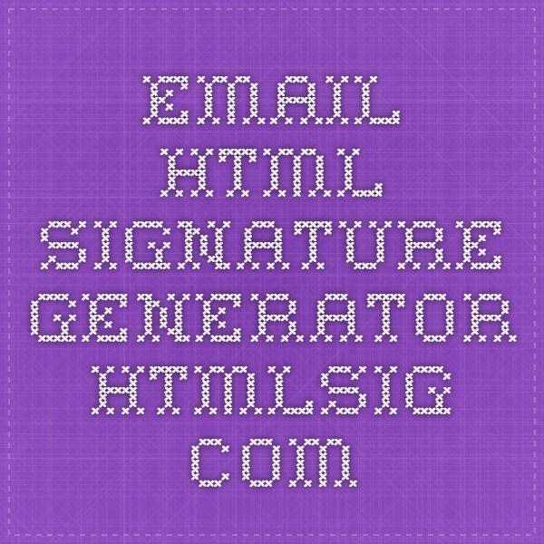 Email html signature generator - htmlsig.com