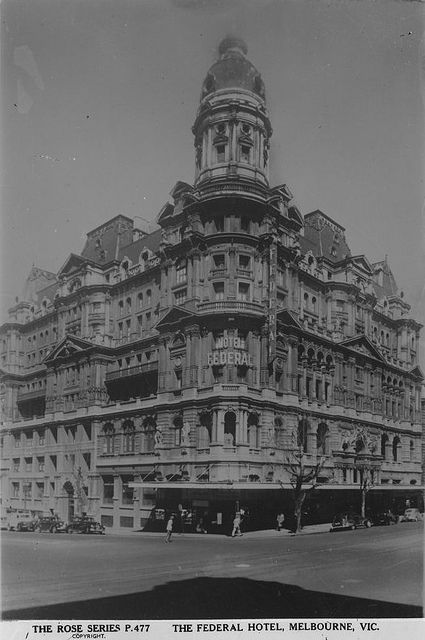 Built between 1888 and 1890, the Federal Hotel and Coffee Palace occupied 555 Collins St until it's demolition in 1973.