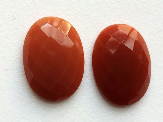 Carnelian Orange Chalcedony Rose Cut Matched Pair by gemsforjewels