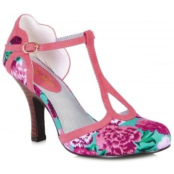 New for summer with contrast trim picking out pretty retro scallops, T bar shoe Polly features bright floral print and hot coral trim for a stunning summer look. Ruby Shoo Polly matches perfectly to bag Monaco. http://www.marshallshoes.co.uk/womens-c2/ruby-shoo-womens-polly-coral-t-bar-court-shoe-09079-p4422