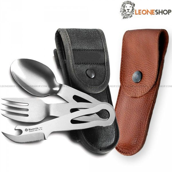 """Camping Tableware Set MASERIN Italy, Survival, Camping and Outdoor Accessories, camping set with three camping tableware in stainless steel of high quality consisting in spoon, fork and serrated table/opener knife - Lenght of utensils 2"""" - Overall lenght 5.5"""" - Supplied with Nylon or Leather sheath - A MASERIN Italy camping - survival set really exceptional with quality materials, superior quality in all the components and also in the finishes."""