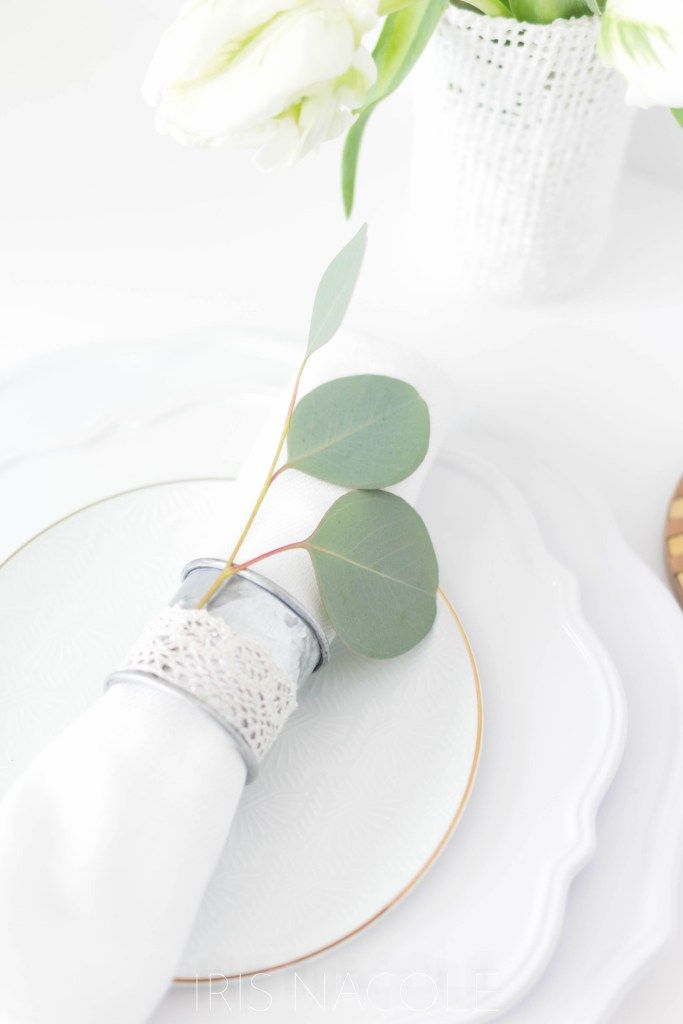 Step 3 Table Setting Idea Rustic Farmhouse Eucalyptus Napkin Ring Tutorial by Iris Nacole
