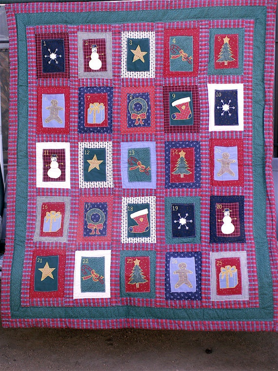 Handcrafted Advent Calendar Wall Hanging/Quilt by dagutzyone, $150.00